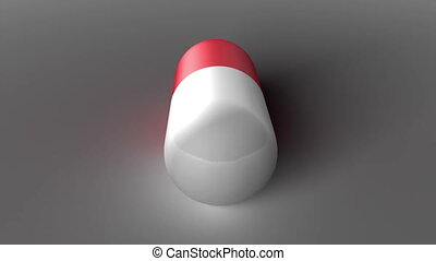 Rotating pill - Red and white pill turning, 3D rendering