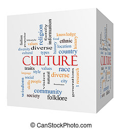 Culture 3D cube Word Cloud Concept on a Blackboard with...