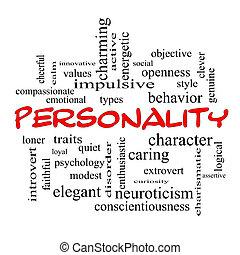 personalidad, palabra, nube, concepto, rojo, tapas