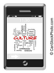Culture Word Cloud Concept on a Touchscreen Phone with great...