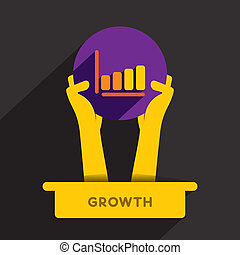 business growth icon - business growth graph icon hold in...