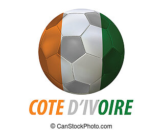 cote d'ivoire - Soccer ball with cote d'ivoire flag isolated...