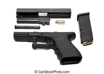 Disassembled Gun with magazine and ammo - Disassembled Gun...
