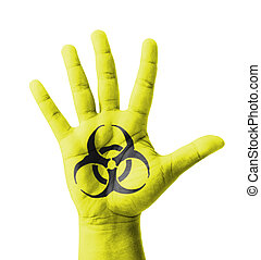 Open hand raised, Biohazard sign painted, multi purpose...