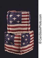 two Ottomans with American flag