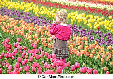 little girl in tulip field