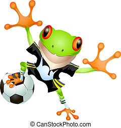 Goalkeeper frog - Funny illustration of frog in football...