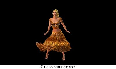 dancer dancing merrily on dance floor.dress&gold skirt with colorful stage ligh
