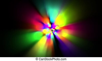 rainbow colors circle and rotate rays light as music...