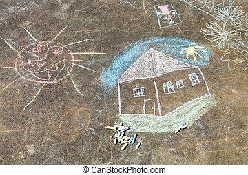 criança, desenho, -, casa, sol, pintado, asfalto