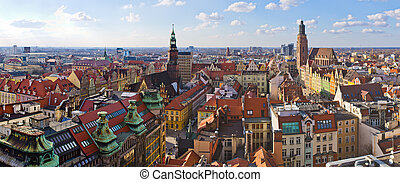 Wroclaw town square view during early spring