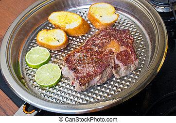 Steak on the pan
