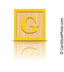 Vector letter G wooden block - Letter G wooden alphabet...