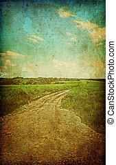 Country road  - grunge country road in summer morning