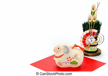 Figurine of Sheep and New Year's pine. - The Figurine of...