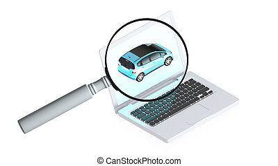 High detailed laptop and car on them - 3D image of a simple...