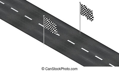 road with finish flag - part of isometric collections of...