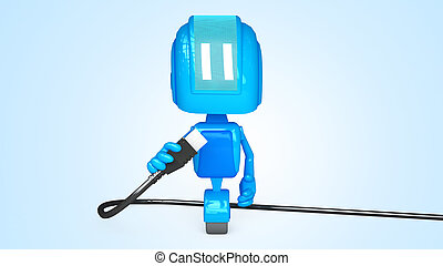 Robot with Usb - 3D illustration of character with objects...