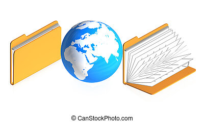 folders with objects - 3D image of a simple object for use...