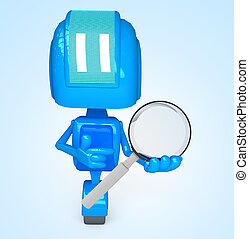 Robot holds magnifying - 3D illustration of character with...