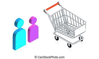 Shopping cart - 3D image of a simple object for use in...