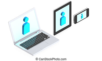 Laptop, tablet computer and mobile phone - 3D image of a...