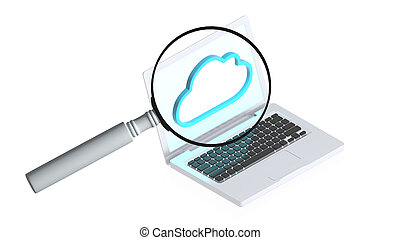 Computer with magnifier - 3D image of a simple object for...