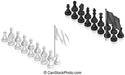 Chess battle with white flag - part of isometric collections...