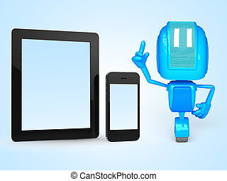 robot with phone and tablet