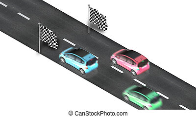 road with finish flag