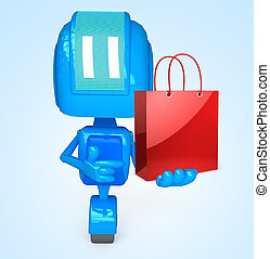 Robot holds bag - 3D illustration of character with objects...