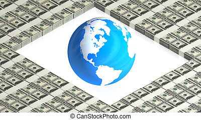 earth on paper dollars - part of isometric collections of...