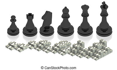 Chess figure with paper money - part of isometric...