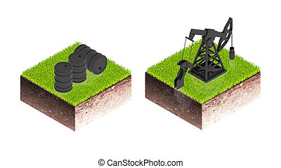 Oil Pumpjack - 3D image of a simple object for use in...