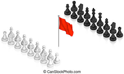 Chess battle with red flag - part of isometric collections...