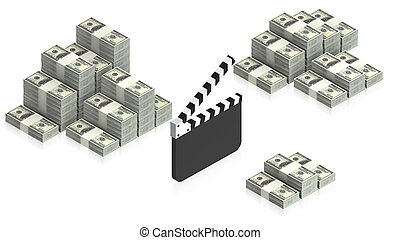 clapperboard with paper dollars - part of isometric...