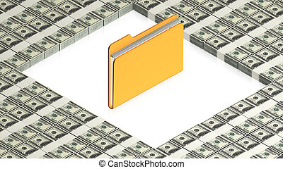 folder with paper dollars - part of isometric collections of...