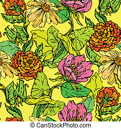 Floral Seamless Pattern with hand drawn flowers on yellow...