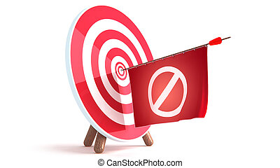 Dart Hitting A Target, Isolated On White Background, Vector Illustration