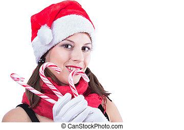 schöne, frau, aus,  Claus, hintergrund,  santa, weißes, Kleidung