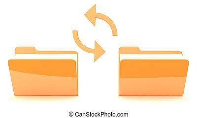 folder with synchronization - folder with orange icon on...