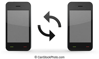 synchronization of phones on white background