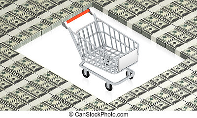Shopping cart on paper dollars - part of isometric...