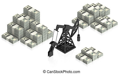 oil derrick with dollars - part of isometric collections of...