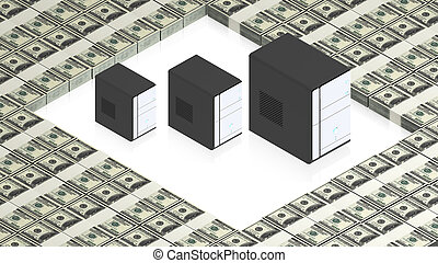 servers on paper dollars - part of isometric collections of...