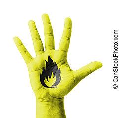 abierto, mano, levantado, inflamable, señal, pintado