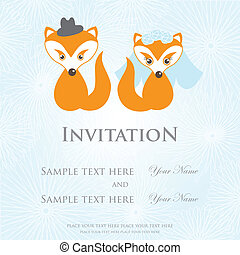 Hand drawn love wedding fox couple on background - Hand...
