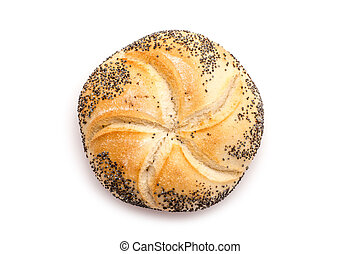 Kaiser Roll With Poppy Seeds Isolated