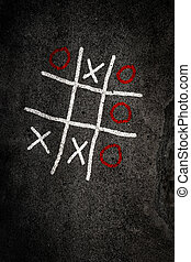 Noughts and Crosses game on paving