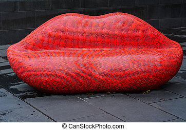 Red Mosaic Lips - MELBOURNE - APR 11 2014: Red Mosaic Lips...